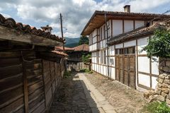 Houses of the nineteenth century in historical town of Kotel, Sliven Region, Bulgaria. KOTEL, BULGARIA - AUGUST 1, 2014: Houses of the nineteenth century in stock photos