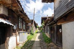 Houses of the nineteenth century in historical town of Kotel, Sliven Region, Bulgaria. KOTEL, BULGARIA - AUGUST 1, 2014: Houses of the nineteenth century in royalty free stock photos