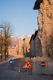 Houses of Norcia partially collapsed Royalty Free Stock Photo