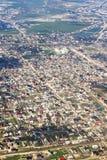 Houses of Novy Khushet. Near Makhachkala, Russia, Dagestan. Aerial view. Vertical shot Stock Photos