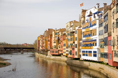 Houses of Oñar in Gerona. The hanging houses on the Oniar river give the neighborhood of the same name a unique aspect with varied colors Royalty Free Stock Images