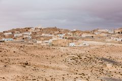 Houses in oasis in Sahara desert, Tunisia Royalty Free Stock Photos