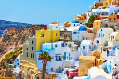 Free Houses Of Different Colours In Santorini Stock Photo - 133698040