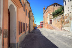Houses and old church in Roddi, Italy. Royalty Free Stock Images