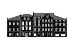 Houses. Old european city street with buildings. Black drawing. Vector illustration Stock Photography