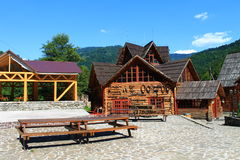 Houses of the old manners. Decorations of old life in the Carpathians Stock Photo