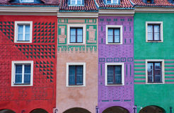 Houses of old Poznan, Poland. Facades of houses of old Poznan, Poland Stock Photos