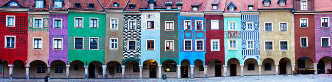 Houses of old Poznan, Poland. Panorama of facades of houses of old Poznan, Poland Royalty Free Stock Photo