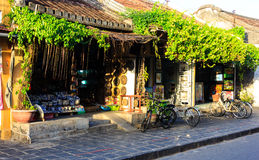 the houses in the old town of Hoi An, the ancient cultural beauty . Stock Photo