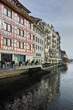 Houses in old town and The Reuss River in Luzern, Switzerland Royalty Free Stock Photography