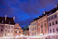 Houses in Old Town of Warsaw at Night Stock Images