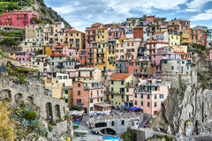 Free Houses On A Cliff In Manarola, Italy Stock Image - 44430511