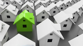 Houses one green Royalty Free Stock Images