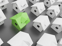 Houses one green Royalty Free Stock Image