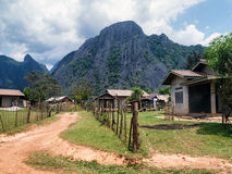 Houses outside Vang Vieng, Laos Royalty Free Stock Photo