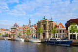 Houses over canal in old Haarlem, Holland Stock Images