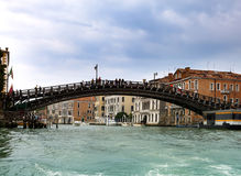 Houses over the channel and bridge. Venice Stock Image
