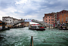 Houses over the channel and bridge. Venice Royalty Free Stock Photography