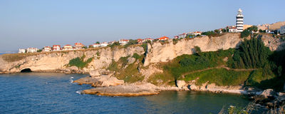 Houses over hill. Panoramic view from northern istanbul. Lihthouse - Sile - Turkey Royalty Free Stock Images
