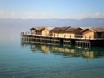 Houses Over Lake. Beautiful houses over Ohrid Lake in Macedonia royalty free stock photo