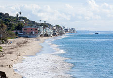 Houses over ocean in Malibu california Royalty Free Stock Photos