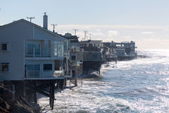 Houses over ocean in Malibu california Stock Photography