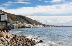 Houses over ocean in Malibu california Stock Photos
