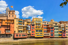 Houses over river in Girona Stock Photos