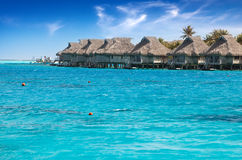 Houses over the transparent quiet sea water  and a palm tree Royalty Free Stock Image