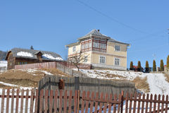 Houses painted like easter eggs, in the village Ciocanesti, county Suceava, Roumania Royalty Free Stock Photo