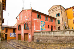 Houses and paintings view in Dozza. Emilia-Romagna. Italy. Royalty Free Stock Photos