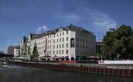 Houses and palaces in Berlin. On the river bank Royalty Free Stock Photos