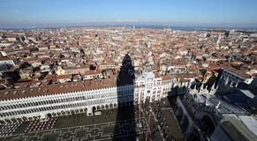 Houses and palaces in Venice seen from the top of the bell tower Royalty Free Stock Photography