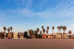 Houses and palm trees near Venice Beach, Los Angeles stock photo