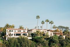 Houses and palm trees in San Clemente, California stock images