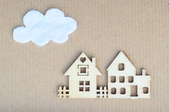 Houses. Paper craft card with houses and cloud Stock Image