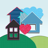 Houses of paper. With heart and cloud Stock Photo