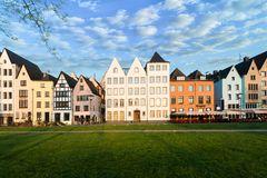 Houses and park in Cologne, Germany. Many of them are colourful royalty free stock photography