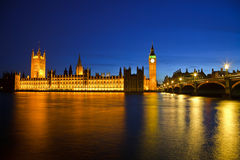 Houses of Parliament. Big Ben and Houses of Parliament at night, London, UK Royalty Free Stock Photography