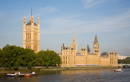 Houses of Parliament. The Houses of Parliament, London, with Victoria Tower and the River Thames in the foreground and St Stephen's Tower (Big Ben) in the royalty free stock photos