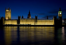 The Houses of Parliament. London at night Royalty Free Stock Photo