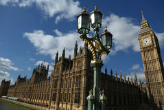 Houses of Parliament. The Houses of Parliament with Big Ben and a Street light in the foreground Stock Photo