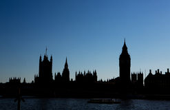 Houses of Parliament. Silhouette of the houses of parliament by day royalty free stock photos