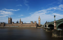 Houses of Parliament. Big ben and houses of parliament by the river thames royalty free stock photo