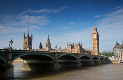 Houses of parliament. Big ben and houses of parliement with westminster bridge Stock Photos