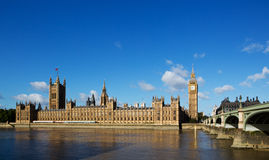 Houses of Parliament. Big ben and houses of parliament by westminster bridge and thames Stock Photos