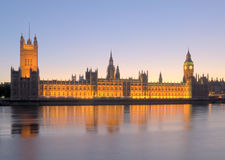 Houses of Parliament. At dusk Royalty Free Stock Photo