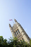 Houses of parliament from below Royalty Free Stock Photo
