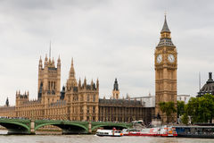 Houses of Parliament and Big Ben. Houses of Parliament, Big Ben, Westminster bridge and Thames river. London, UK Royalty Free Stock Image