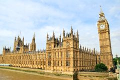 Houses of Parliament and Big Ben Clocktower Royalty Free Stock Photos